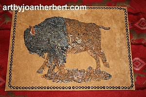 Buffalo mounted on leather